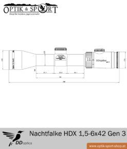 DDoptics Zielfernrohr Nachtfalke HDX 1,5-6x42 Gen 3 - Duplex