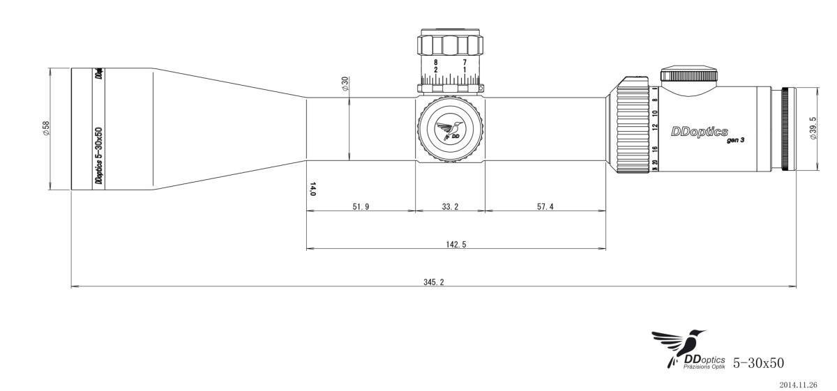 DDoptics Zielfernrohr Zeichnung Nachtfalke 5-30x50