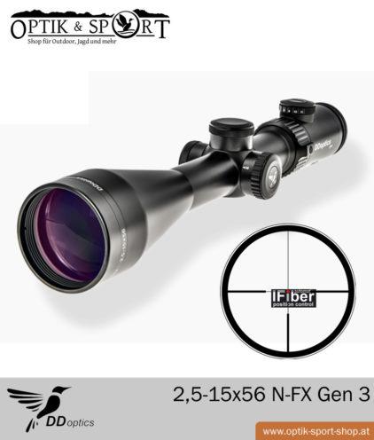 Zielfernrohr DDoptics 2,5-15x56 N-FX Gen 3 mit iFiber Leuchtpunkt 1 cm Klickverstellung