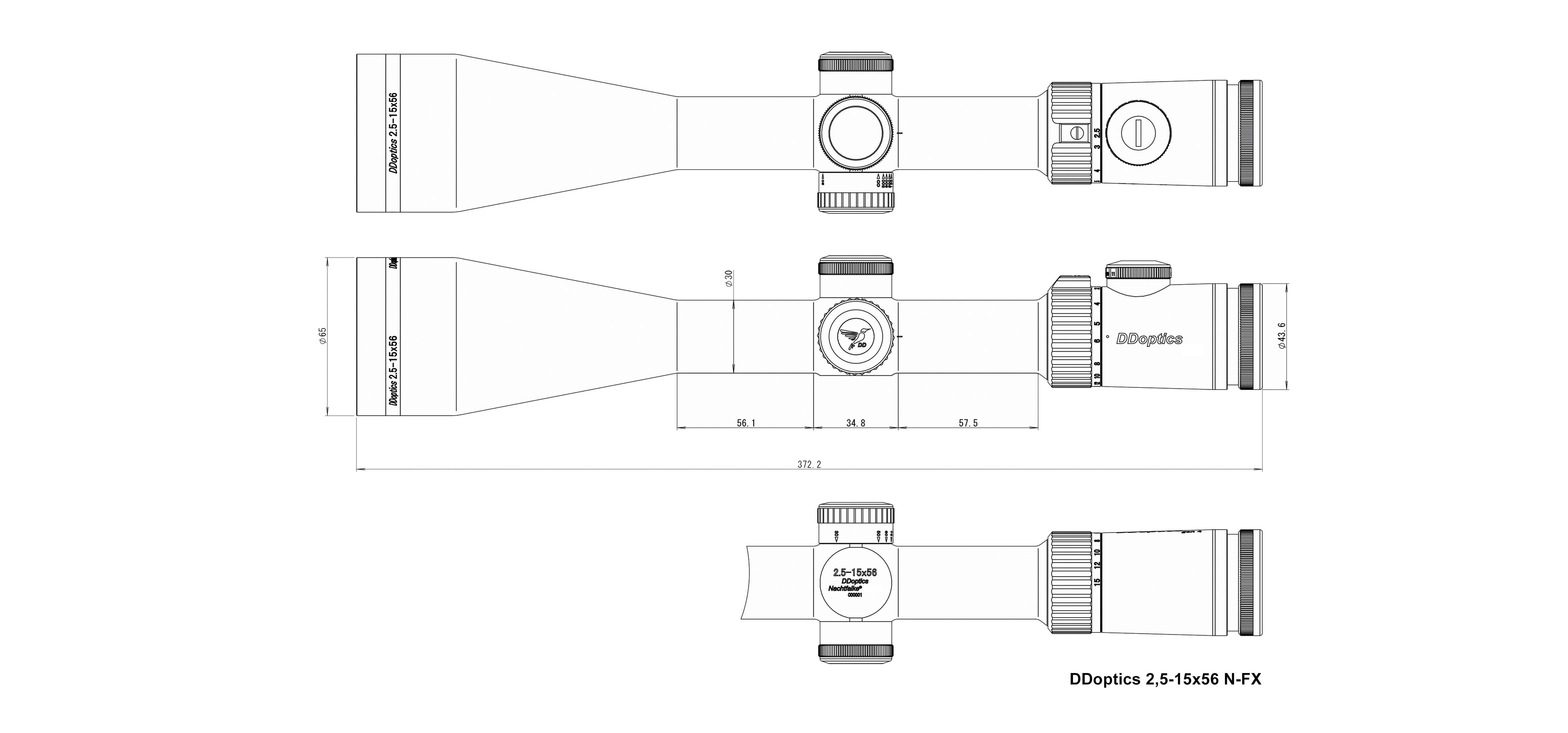DDoptics Zielfernrohr 2,5-15x56