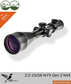 Zielfernrohr DDoptics 2,5-15x56 N-FX Gen 3 mi Leuchtpunkt 1 cm Klickverstellung