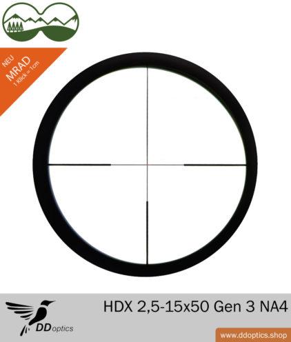 DDoptics ZF Nachtfalke HDX 2,5-15x50 Generation 3 - New Absehen 4 MRAD