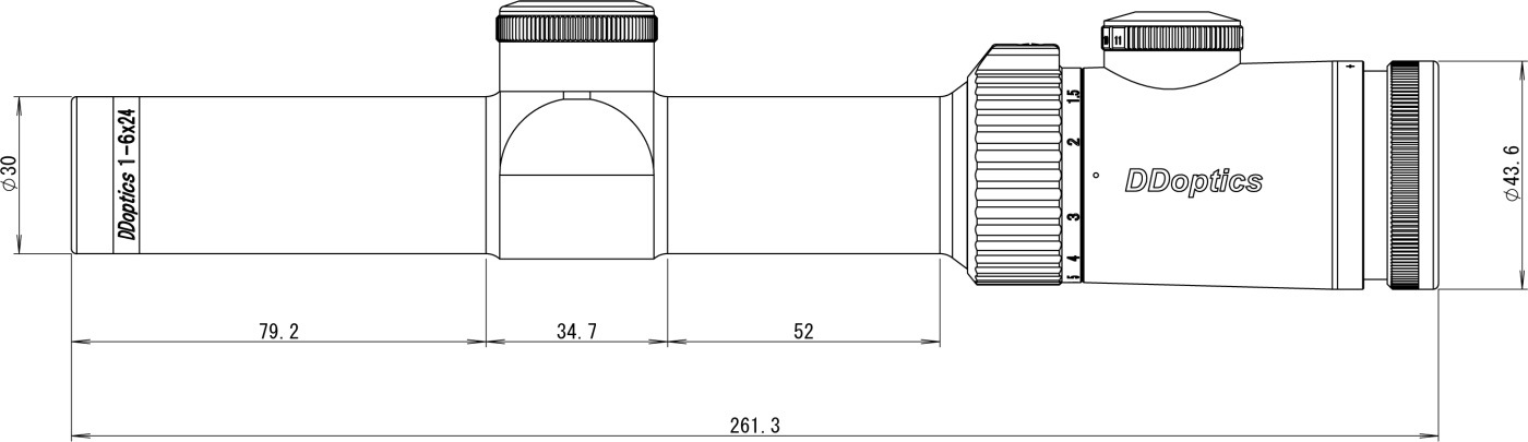 DDoptics Zielfernrohr V6 1-6x24 Zeichnung